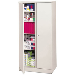 Basyx by Hon Easy-to-Assemble Storage Cabinet, 36w x 18d x 72h, Light Gray