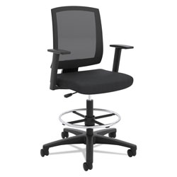 Hon VL515 Mid-Back Mesh Task Stool with Fixed Arms, Black
