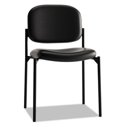 Hon VL606 Stacking Armless Guest Chair, Black Leather