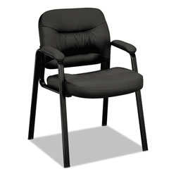Basyx by Hon VL640 Series Leather Guest Leg Base Chair, Black