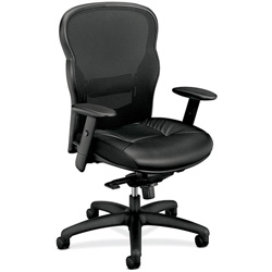 Basyx by Hon VL700 Series Executive High-Back Swivel/Tilt Chair, Black Leather/Mesh