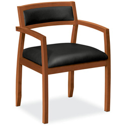 Basyx by Hon Wood Guest Chairs with Black Leather Seat/Back, Bourbon Cherry Finish