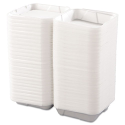 Boardwalk Foam Container 1 Compartment Hinged Lg White, 200/cs