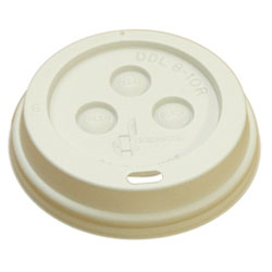 Boardwalk 10-20DOMELID White Plastic Dome Lids For 10 - 20 Ounce Hot Cups