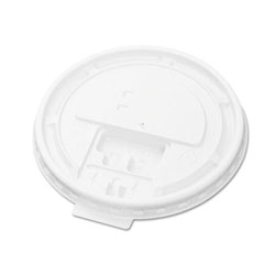 Boardwalk Hot Cup Tear-Tab Lids, Fits 10-20oz Cups, White, 100/Sleeve, 10 Sleeves/Carton