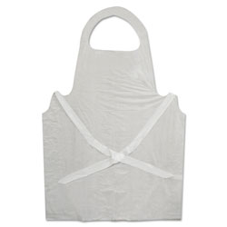 Boardwalk Disposable Apron, White, Polyethylene, 32 in. x 50 in., 1 mil, One Size, 100/Pk