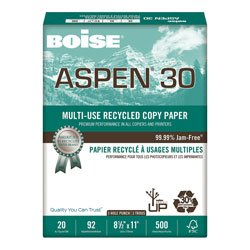 Boise Aspen™ Recycled 3 Hole Bulk Office Paper, 20 lb., 8 1/2 x 11, White, 5,000 Sheets/Ct