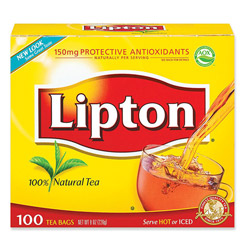 Lipton® Tea Bags, Regular, 1.25 oz Packets, 100/BX
