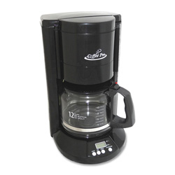"CoffeePro 12-Cup Programmable Brewer, 10"" x 9"" x 14"", Black"