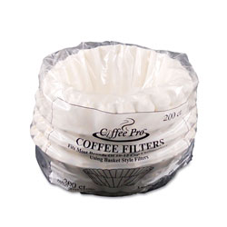CoffeePro Basket Filters for Drip Coffeemakers, 10 to 12 Cups, White, 200 Filters/Pack