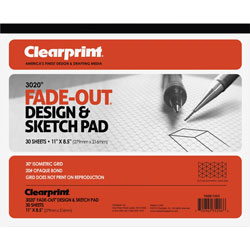 "Chartpak/Pickett Grid Pad, 30 Degree Isometric, 8 1/2""x11"", 30 Sheets"