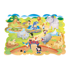 Chenille Kraft Company Cardboard Giant Zoo Animals Floor Puzzle, 4' x 3'