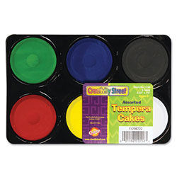 Chenille Kraft Tempera Cakes, 6 Assorted Colors, 6/Pack