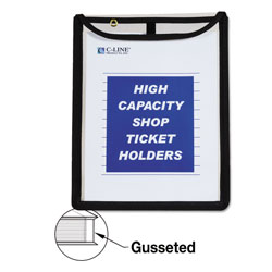 "C-Line Shop Ticket Holders, Flap w/ Velcro Closure, 9"" x 12"" 15/PK, CL"