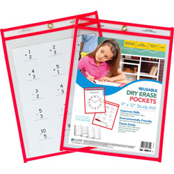 "C-Line Dry Erase Pocket, Reusable, 9"" x 12"", 30/BX, Red"