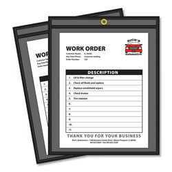 C-Line Shop Ticket Holders for 9x12 Insert, Clear Front/Black Pressboard Back, 25/Box