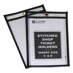 C-Line Shop Ticket Holder for 5 x 8 Insert, Taped & Black Stitched Edges, Clear, 25/Box