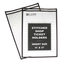 C-Line Shop Ticket Holder for 11 x 17 Insert, Taped & Black Stitched Edges, 25/Box