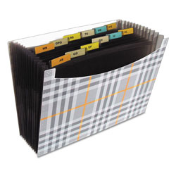 "C-Line 13-Pocket Expanding File, 9"" Expansion, Letter, Gray Plaid, 1/Each"