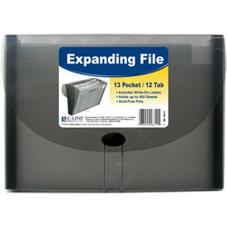 C-Line Biodegradable Expanding File, 13-Pocket, 12-Tab, Letter, Smoke