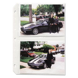 C-Line Clear Photo Holders for Four 5 x 7 Photos, 3 Hole Punched, 11 1/4 x 8 1/2, 50/Bx