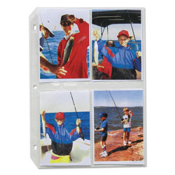 C-Line Clear Photo Holders for 8, 3 1/2 x 5 Photos, 3 Hole Punched, 11 1/4 x 8 1/2, 50/Bx