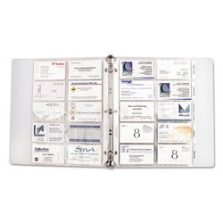 C-Line Tabbed Business Card Protectors, Fits 3 Ring Binders, 100 Card Cap., 5 Pgs/Pack