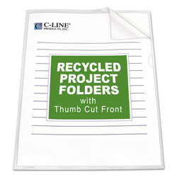 C-Line Recycled Polypropylene Project Folders, Letter Size, Clear, 25/Box