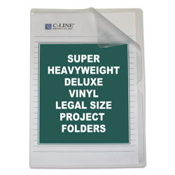 C-Line Deluxe Vinyl Project Folders, Legal Size, Clear, 50/Box