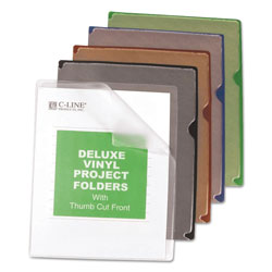 C-Line Deluxe Vinyl Project Folders, Letter Size, Assorted Colors, 35/Box