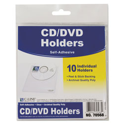 C-Line 70568 Self Adhesive CD/DVD Pockets, Clear