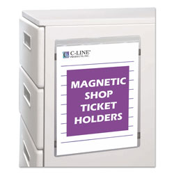 C-Line Magnetic Shop Ticket Holders for 9 x 12 Insert, Clear Vinyl, 15 per Box