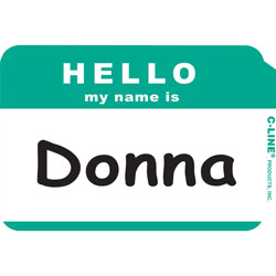 "C-Line Hello My Name Is Badge, 3-1/2""x2-1/4"", Green"