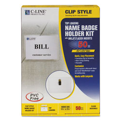C-Line Clip Style Badge Holder Kit with Laser & Ink Jet Compatible Inserts, Top Loading