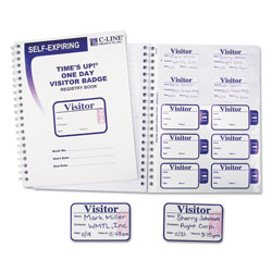 C-Line Visitor's Log with Expiring Badges, White