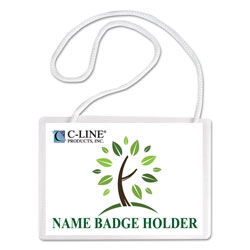 C-Line Biodegradable Top Load Name Badge Holder Kits, White Inserts, 4x3