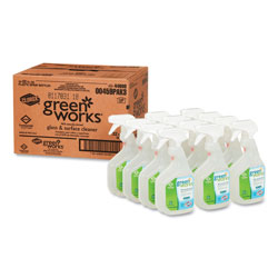 Green Works Glass & Surface Cleaner, Original, 32oz Smart Tube Spray Bottle, 12/Carton