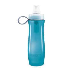 Brita Soft Squeeze Water Filter Bottle, 20oz, Aqua Blue