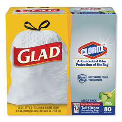Glad OdorShield Kitchen Drawstring Bags, Gain Original, 13gal, White, 80/BX, 3 BX/CT