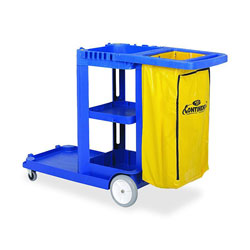 "Continental Janitorial Cart, with 25 Gallon Bag, 55""x30""x38"", Blue"