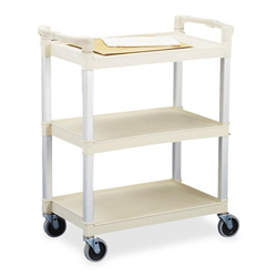 "Continental 3 Shelf Utility Cart, 36""x16""x31"", Beige"