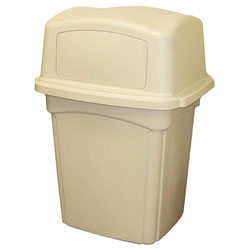 Continental Rectangle Plastic Indoor Trash Can, 45 Gallon, Beige