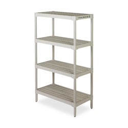 "Continental Open Shelving Unit, 36"" x 18"", 4 Shelves, Gray"