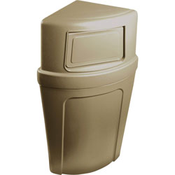 Continental Round Plastic Indoor Trash Can, 21 Gallon, Beige
