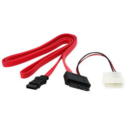 Startech Slimline SATA Female To SATA With LP4 Power Cable Adapter - Serial ATA Cable - 3 Ft