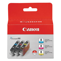 Canon 0621B016 CLI 8 Inkjet Cartridge, Three Pack, Tri Color