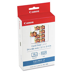 Canon 7740A001 Ink Cartridge/Label Set, 18 Sheets, 8 Labels/Sheet, 9/10 x 7/10