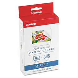 Canon 7741A001 Ink Cartridge/Label Set, 18 Sheets, 2 3/5 x 2