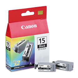 Canon BCI 15 Ink/Tank for i70, i80, i90, Black, 2/Pack