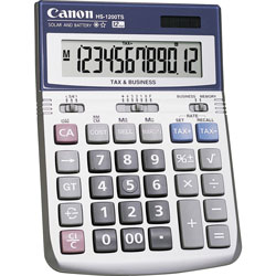 Canon HS1200TS Minidesk Calculator, Battery/Solar, 12 Digit LCD Display
